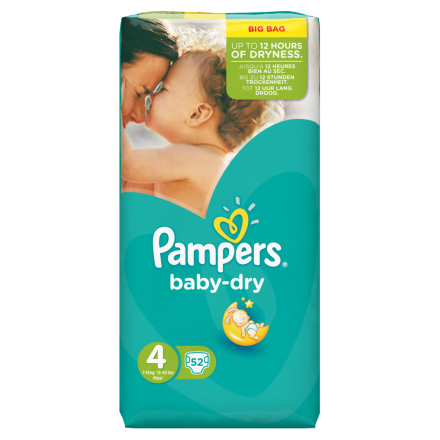 Pampers Baby Dry Gr.4 Maxi 7-18kg Value Bag 52 Stück